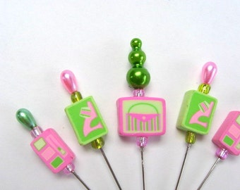 Girl Stuff - Decorative Stick Pins - Set Of 5