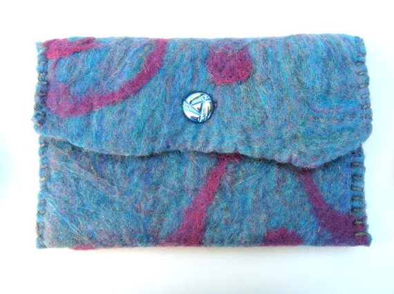 Hand Felted Clutch With Vintage Czech Glass Button
