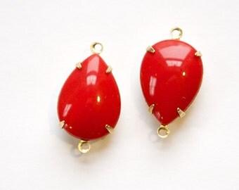 Vintage Opaque Red Glass Teardrop Stones 2 Loop Brass Setting 18x13mm par004Z2