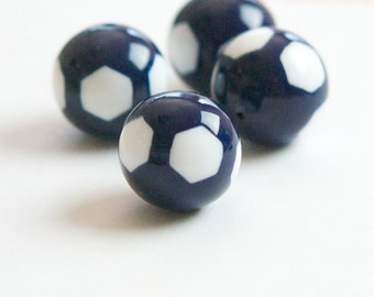 Vintage Navy and White Lucite Beads 16mm bds071