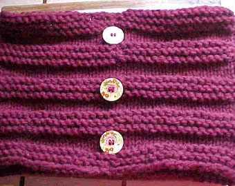 Hand Knit Cowl/Neckwarmer-Deep MERLOT/Wine  Color, soft Acrylic, Double Knit, Large Wooden Buttons w/painted flowers-FREE SHIPPING