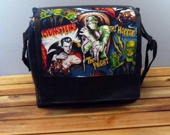 Fright Night Vinyl Messenger Bag - Movie Monsters Horror Movies Mummy Living Dead Werewolf