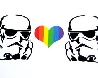 Valentine Card // Star Wars Inspired Valentine // Stormtrooper Hearts Stormtrooper Card