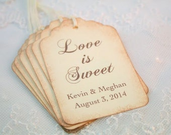 Love is Sweet Tags Personalized Wedding Favor Tags Set of 10 Name and Date