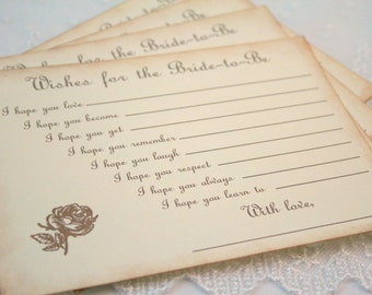Bride to Be Wish Cards Guest book Alternative Fill in the Blank Roses Set of 10