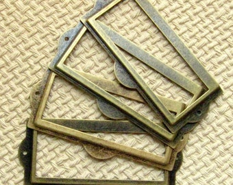 Set of 5 Antique Brass Finish Label Holders, Card Holders, Metal Label Frames (LH0014)