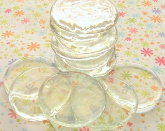 Clear Glass Wafers - Set of 30 Large Gems - Thin and Flat - Great For Pendants and Magnets