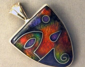 RESERVED for OKSANA - Handcrafted Fine Cloisonne Pendant on Fine Silver