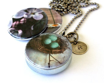 Birds Nest Locket Necklace - Stamped Custom Initial Photography Locket Great Travel Necklace Magnetic Jewelry by Polarity and Jude McConkey