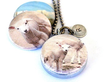 Lamb Locket Necklace - Country Living Photography, Wheat Field, Farm Girl Gift, Sheep Farm, Magnetic Jewelry by Polarity and Jude McConkey