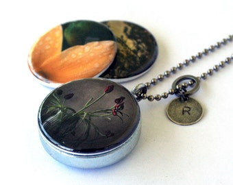 Rose Garden Locket Necklace - Rose Necklace, Artist Photography Locket, Magnetic Jewelry by Polarity and Jude McConkey, 3 NECKLACES IN 1