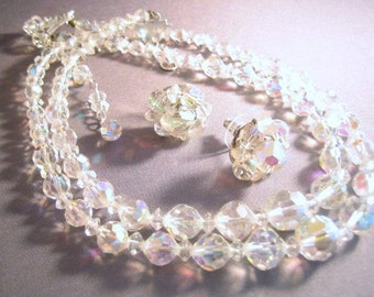 Crystal Iridescent Double Strand Necklace with Cluster Earrings Pierced Glass Graduated AB 1950 Pierced Bride 1950 Demi Parure Choker