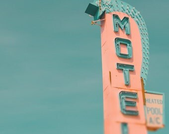 Vintage motel sign Jersey shore mad men retro neon sign pale blue coral pastel colors summer vacation 1950s ephemera 8x8