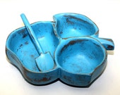 Wood Bowl Leaf Turquoise Shabby Chic Upcycled Painted With Spoon
