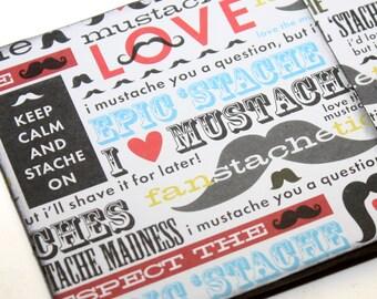 Wood Coaster Mustache Love