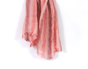 Light pink linen scarf unisex lightweight fashion