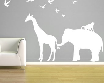 Elephant Giraffe Wall Decal Vinyl Elephant Birds Monkey Giraffe Zoo Line Safari Jungle Silhouette Nursery - CA112