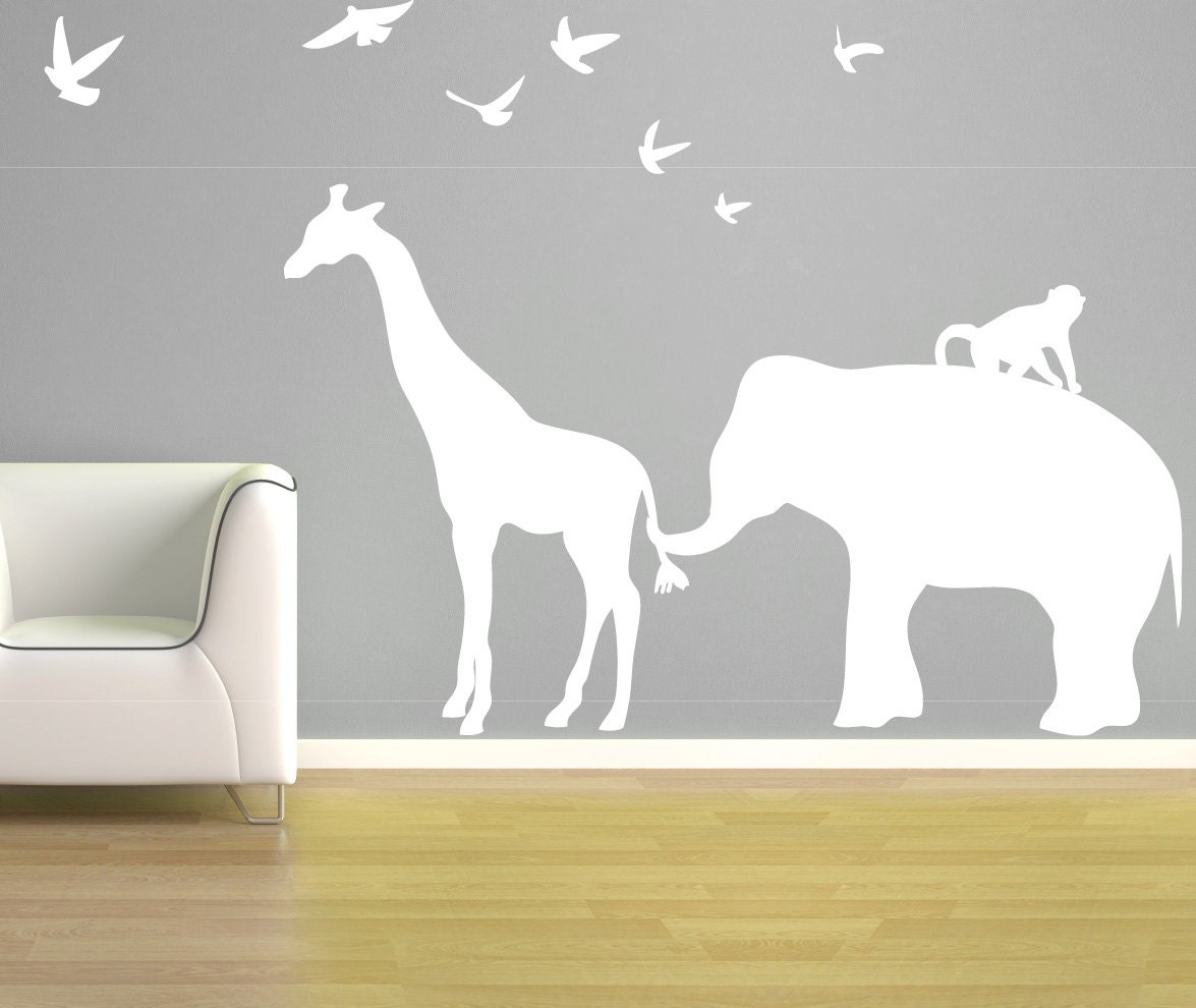 Elephant Giraffe Wall Decal Vinyl Elephant Birds Monkey