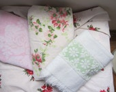 Very, shabby chic vintage towels... Love green and pink flowers.