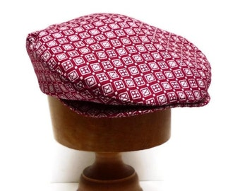Men's Driving Cap in Vintage Red and White Wool - Made to Order  in Your Size - 3 WEEKS FOR SHIPPING