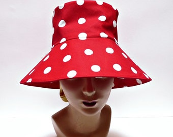 Women's  Sun Hat in Lipstick Red Polka Dot Canvas - MADE TO ORDER