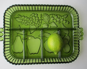 Vintage Indiana Glass Avocado Green Fruit Motif Five Part Relish Dish - Retro