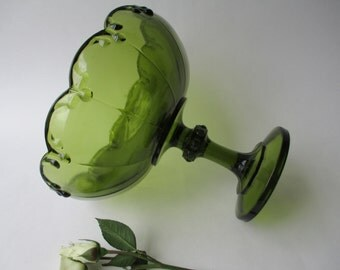 Indiana Glass Teardrop Avocado Green Large Compote - Retro Vintage