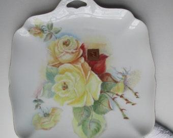 Serving Platter Hutschenreuther Yellow Rose Handled - Vintage Chic
