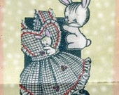 Vintage Girls Dress Pattern Sundress With Panties And Bunny Applique circa 1940s  PDF Toddlers Multi Sized 2, 4 or 6
