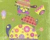 Four Topsey Turtles Print 8.5 x 11