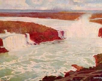 Vintage Aerial View of Niagara Falls Print Charles Williams Jefferys for Framing