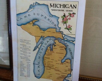 vintage  Map of Michigan 1912  - The Wolverine State