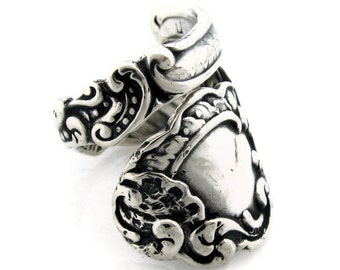 Sterling Silver Spoon Ring Size 6 to 10 Marie Antoinette
