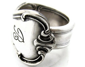 Silver Spoon Ring Size 3 to 15 Signature With B Monogram Classic Style