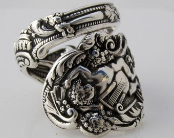 Heavy Sterling Spoon Ring Size 6 - 12 Versailles Incredible Detail