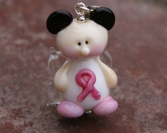 Think Pink Magical Fairies Mickey Minnie Mouse Style Lampwork DeSIGNeR Pendant Sterling Silver