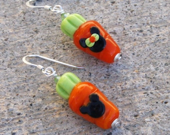 Magic Mickey Minnie Style Lampwork Carrots for the Easter Bunny Disney Inspired DeSIGNeR Earrings Disneyland Spring Garden