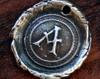 Wax Seal Style Initial Charm in Sterling silver