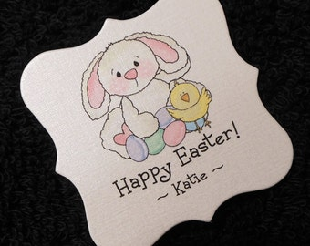 Easter gift tags etsy personalized easter gift tags candy tags easter bunny with easter eggs and chick negle Choice Image