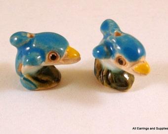 SALE - 2 Dolphin Beads Animal Bead Ceramic Hand Painted Glazed 17x15mm - 2 pc - 5956
