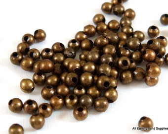 250 Spacer Beads 2mm  Antique Bronze Plated Iron Metal Beads - 4.5 grams - M7046-AB250