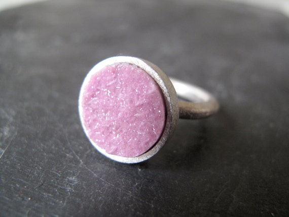 SALE 30% Off - ZEN // Sterling silver ring with natural drusy Cobaltocalcite