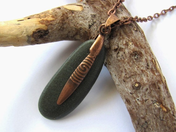 River Rock Pendant Copper Charm Dark Green Eco Friendly Natural Reclaimed Beach Stone Necklace Handmade Jewelry by Hendywood