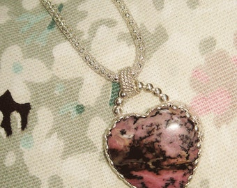 Heart of Stone - Sterling  and Rhodochrosite Heart Necklace - ON SALE