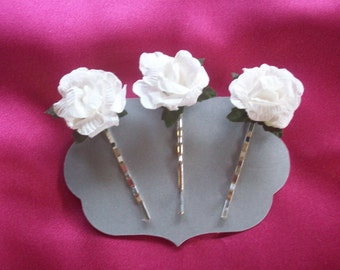 Bridal, Pins for your Hair, Special Event,White Paper Roses, Silver Plated  Bobby Pins,.3 Pins