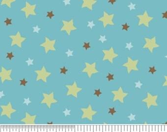 Riley Blake Mod Tod Stars Blue Flannel Fabric, 1 yard