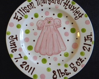 Personalized Baptism Plate - Hand Painted Baby Plate - Great Baptism, Christening, Shower or Birth Gift