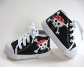 Pirate Shoes, Skull and Crossbones, Hand Painted Black Hi Top Sneakers, Baby and Toddler, Kids