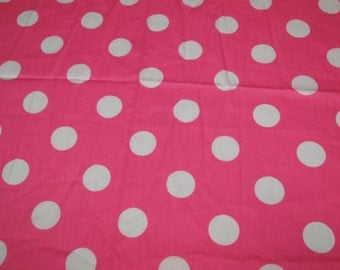 SALE vintage 80s pink novelty fabric, featuring pretty polka dot design, extra wide, 1 yard, 2 available priced PER YARD