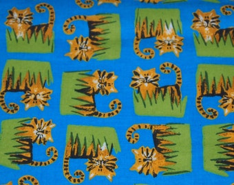 SALE vintage 70s novelty print fabric, featuring cute tiger motif, 1 yard, 3 inches